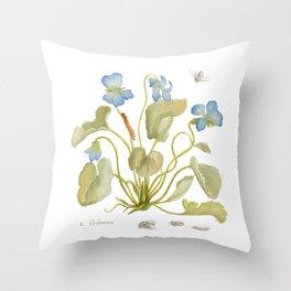 Cyclamen Botanical Watercolor Throw Pillow