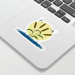 Cattails and Dragonflies Sticker