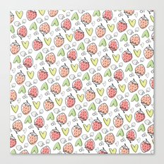 Pattern: Strawberries & Hearts Canvas Print
