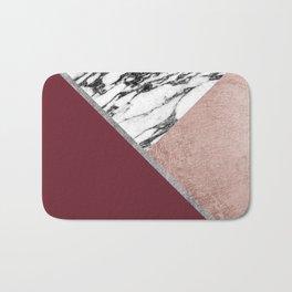 Marble Rose Gold Red Wine Triangle Geometric Bath Mat