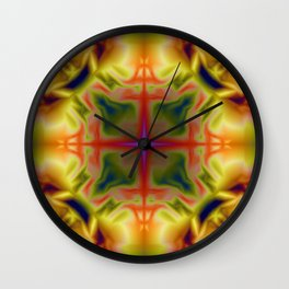 Soft drawing with colorful patterns in batik Wall Clock