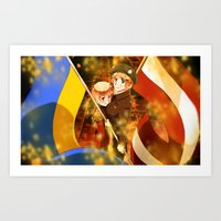hetalia Art Prints featuring Hetalia Latvia & Ukraine by Amymone Montoya