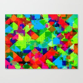 geometric square pixel pattern abstract in green red blue Canvas Print
