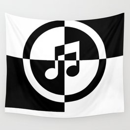 Black and White Music Note Wall Tapestry