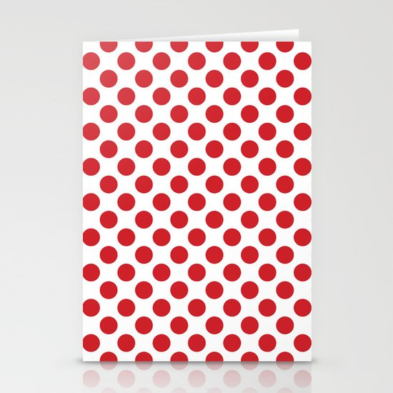 White and red polka dots Stationery Cards