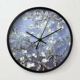Vincent Van Gogh Almond Blossoms : Steel Blue & Gray Wall Clock