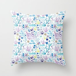 Cute marine watercolor pattern with hand drawn narwhals corals seafish Throw Pillow
