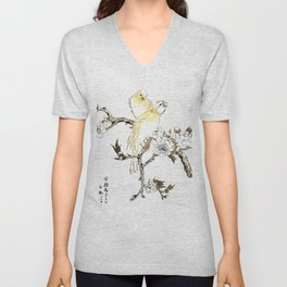 Antique Japanese Woodblock Print Art By Numata Kashu - Couple Of Canary Birds And Peach Flowers Unisex V-Neck