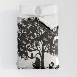 We're All Mad Here III - Alice In Wonderland Silhouette Art Comforters