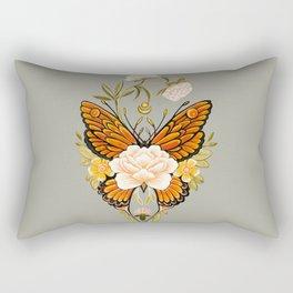 Butterfly Peonies Tattoo Rectangular Pillow