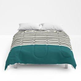 Dark Turquoise & Stripes Comforters