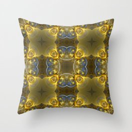 Kaleidoscope Gold and Sapphire Ribbons Throw Pillow