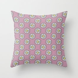 Vintage Purple Daisy Print Throw Pillow