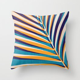 Gold and Navy Abstract Palm Frond Throw Pillow