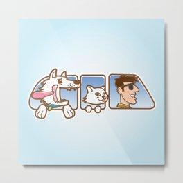 Dog ,cat and man in car window Metal Print
