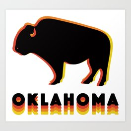 Retro Buffalo Art Print