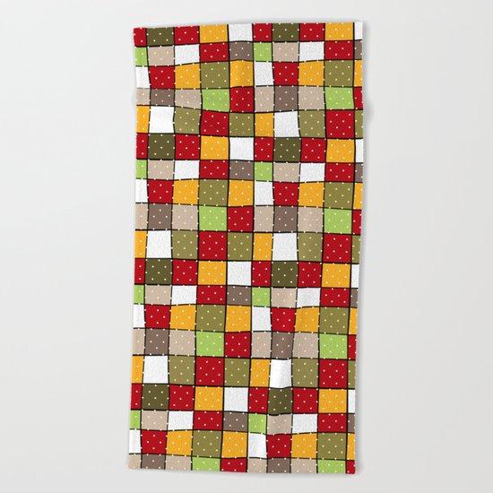 Retro . Squares with polka dots . Beach Towel