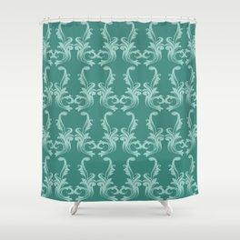Turquoise damask pattern Shower Curtain