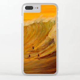 Golden Light of Waimea Surfers Clear iPhone Case