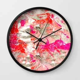 Marbling in Pink Wall Clock