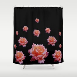 ROMANTIC ANTIQUE PINK ROSES ON BLACK Shower Curtain