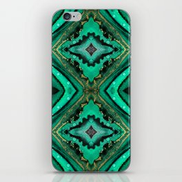 Malachite-inspired alcohol ink art with hints of emerald green, gold and black iPhone Skin