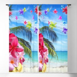 Tropical Beach and Exotic Plumeria Flowers Blackout Curtain