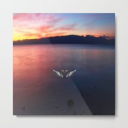 Sunset and swans in Ohrid  Lake Metal Print