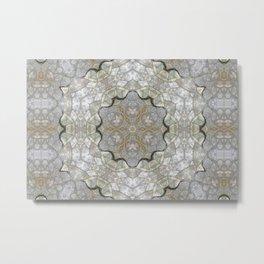 White and Gray Stone Mosaic Metal Print