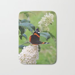 RED ADMIRAL BUTTERFLY ON WHITE BUDDLEIA Bath Mat
