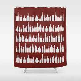 Bottles Red Shower Curtain