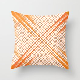 Stay Focused - Abstract Geometric Grid Orange Throw Pillow