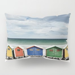 Beach Huts - Colorful houses and Sea, Cape Town, South Africa Pillow Sham