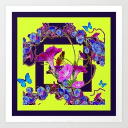 Purple Morning Glories Butterfly Patterns Chartreuse Art Art Print