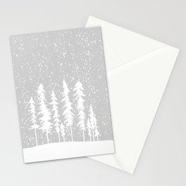 Snowy Winter Forest - Gray Stationery Cards