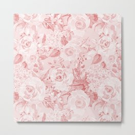 Modern rustic blush pink white watercolor floral Metal Print