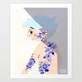 Boy In Delfts Blauw Art Print
