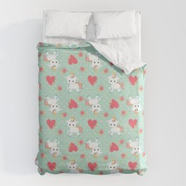 Baby Unicorn with Hearts Duvet Cover