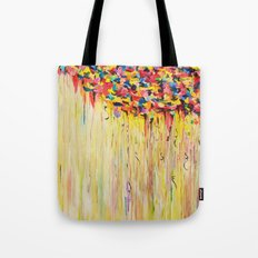 OPPOSITES LOVE Raining Sunshine - Bold Bright Sunny Colorful Rain Storm Abstract Acrylic Painting Tote Bag