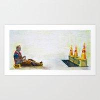 construction man on break Art Print