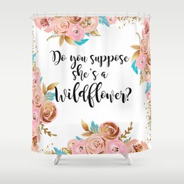Blush and gold wildflower Shower Curtain