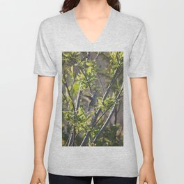Hummingbird in the Bushes Unisex V-Neck