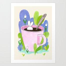 Cup o Bunny Art Print