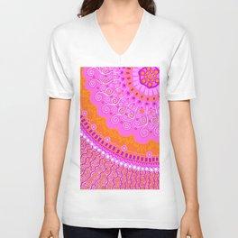 Mandala ~ Hot Pink & Orange Unisex V-Neck