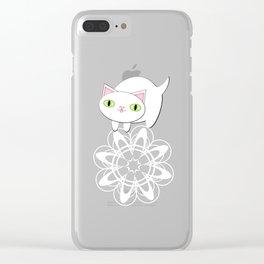 Feline Flurries on Light Blue Clear iPhone Case