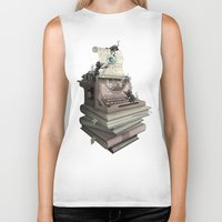 bookworm Biker Tanks featuring Bookworm by BlancaJP