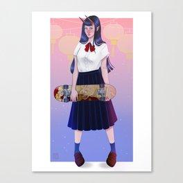 Skater Oni Girl Canvas Print