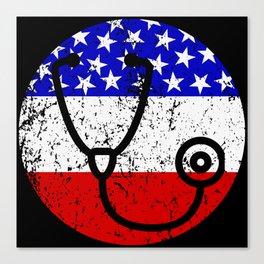 American Flag Doctor Nurse Canvas Print