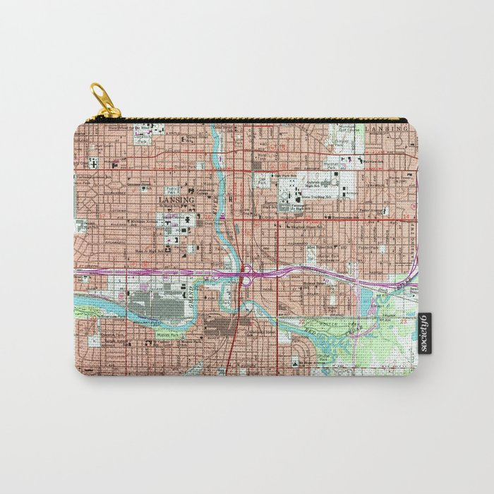 Vintage Map of Lansing Michigan (1965) Carry-All Pouch by bravuramedia