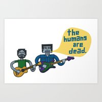 flight of the conchords Art Prints featuring Conchords Robots by Annie Dwyer Internicola
